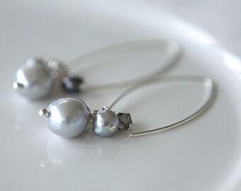 Silver Pearl Cluster Earrings
