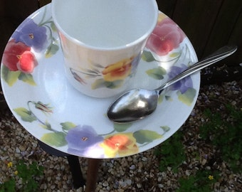Glass Pansies Cup and Saucer with Spoon Perch Bird Feeder Handmade