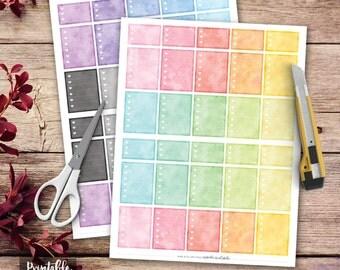Heart Checklist Printable Planner Stickers, Watercolor Full Box Planner Stickers, Erin Condren Planner Stickers, Checklist Stickers