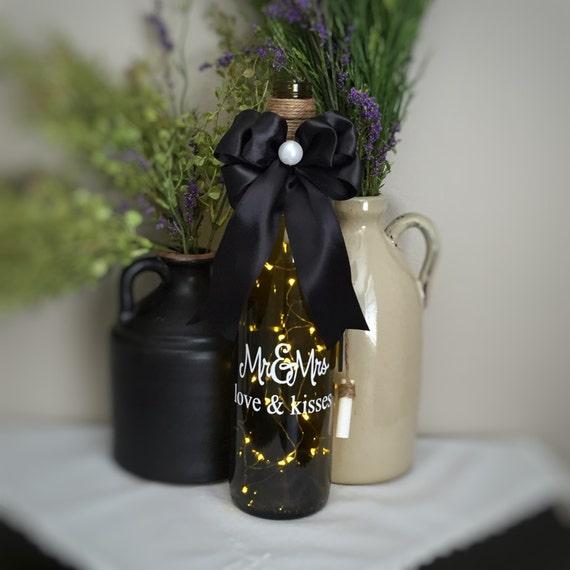 Mr&Mrs/love and  kisses/Wine Bottle Light/Black  White/Fairy Lights/ Battery Operated/Recycled Glass Bottle/Wedding Gift/Anniversary Gift