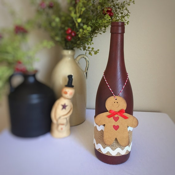 Gingerbread Decor/Gingerbread Man/Country Christmas Decor/Winter Wonderland/Rustic Christmas/Primitive Red/Wine Bottle/Recycled Bottle