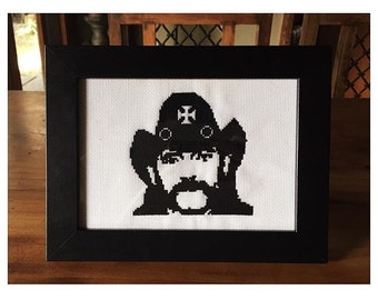 Motorhead Lemmy Kilmister Completed Cross Stitch in Black Frame
