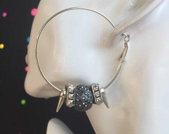 Silver Spike Studded Sparkled Hoop Earrings