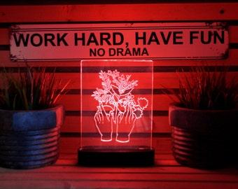Flower Hands acrylic 3d LED Table Lamp, bedroom Night Light, bedside Night Lamp, Decorative modern Lighting, wood LED Lamp, Desk Decor