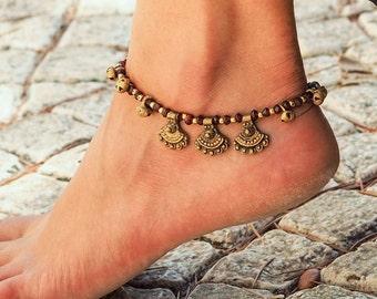 Handmade Garnet Anklet // Handmade Anklet // Garnet Anklet // Beach Anklet // Bell Anklet // Made To Order Anklet // Anklet for Women