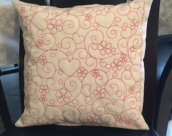 Heart, Flowers and Swirl PIllow