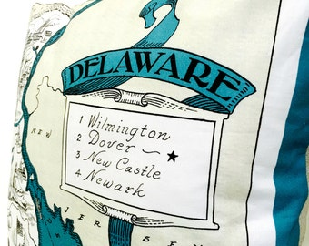 Delaware  State Pillow Cover with Insert
