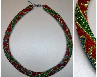Colorful crochet rope necklace. Red, green, gold and blue necklace. Crochet bead necklace.