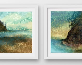 SET of TWO Oregon Coast Rain prints, limited edition, fine art prints, Oswald West, Short Sands, coastal art