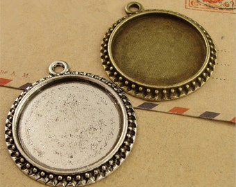 40pcs 30 mm Round Zinc Alloy Pendant Trays  Antique Style Pendant Blanks Bezel Setting