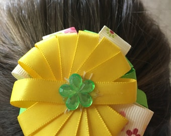 Yellow and Green Loop Bow