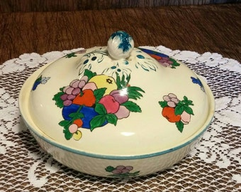 "Booth's Silicon China ""Fruit"" covered dish, free shipping"