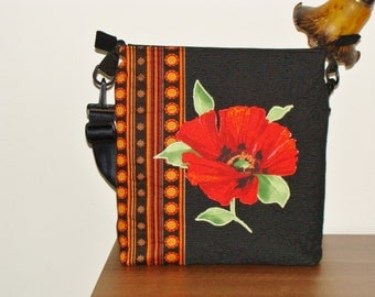 Shoulder bag, fabric upholstery, with poppy flower