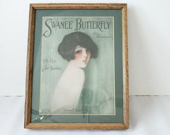 """Vintage """"SWANEE BUTTERFLY"""" Framed Ad Print"""
