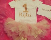 Baby's 1st Birthday Pink and Gold...