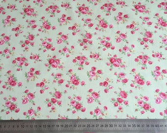 floral green cotton poplin, fat quarter, mint green, rose flowers, shabby chic, 100% cotton