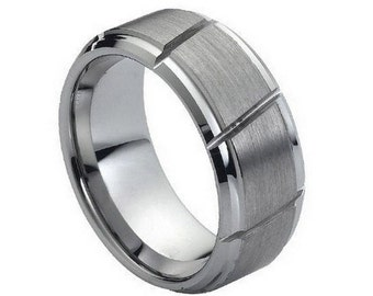 Free Engraving ** Tungsten Carbide Mens Wedding Band 9mm | Multiple Diagonal Grooves Brushed Center