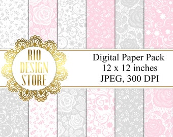 Digital Paper Pack, Background, Flowers, Instant Download