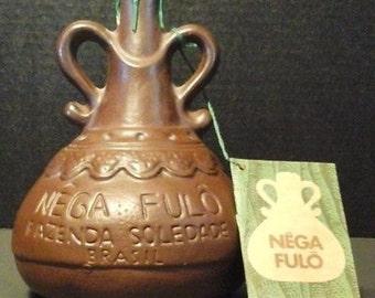 Nega Fulo fazenda soledade vintage Brazilian terracotta liquor bottle