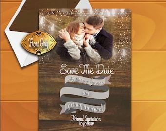 Rustic Wedding Invitation. Save The Date Invite