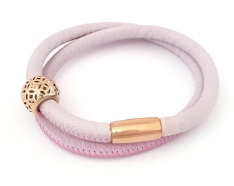 Leather Double Wrap in Soft Pink