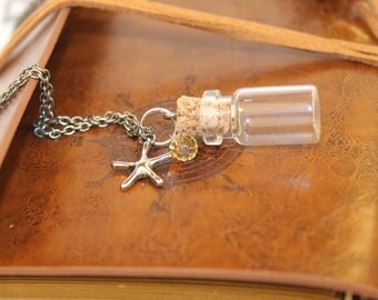 Vial Necklace with Starfish Charm