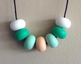 Silicon Necklace - Snow, Jade, Mint & Peach
