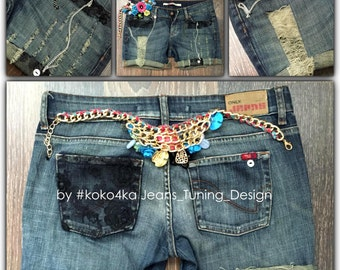 by KOKO4KA /torn jeans shorts/jeans/boyfriend/handmade/exclusive/denim shorts/trand/exclusie/shorts/distroy denim/guipure/ chain