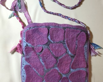 Hand-made wet-felted purse OOAK silk sari ribbon strap and bead accents