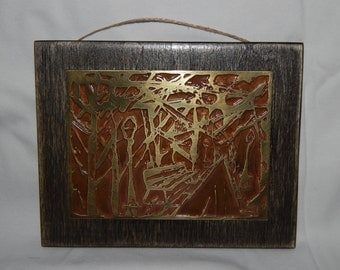 Woodland park themed etching in brass