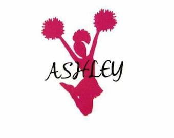 Cheerleader Decal with Name, Personalized Cheerleading Decal, Cheerleaders water bottle sticker, Cheer sticker, Laptop Sticker, Car Decal,