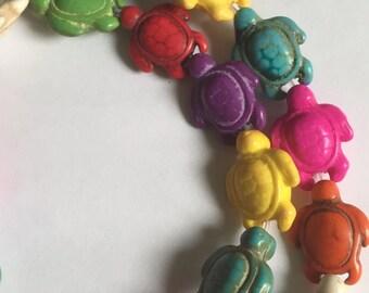Turquoise Howlite Turtle Beads (22 beads)