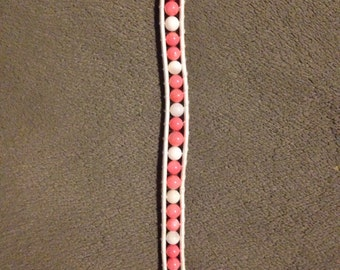 Pink and white beaded leather wrap bracelet