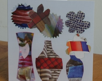 Three vase collage Greetings Cards