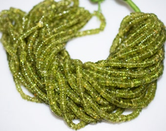 Good Quality Peridot Smooth Tyre Beads 16 Inch Strand , Peridot Smooth Tyre Beads ,4-5 mm - MC099