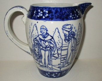 copeland & sons stoke on trent england flow blue william shakespeare hamlet pitcher