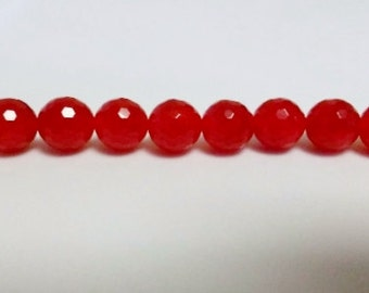 Red jade beads 10mm round beads faceted round beads semiprecious stone semiprecious beads red jade jade beads