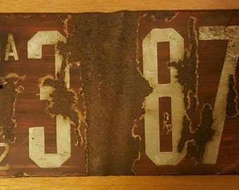 Antique Porcelain Coated 1912 Pennsylvania License Plate - # 3(null)875