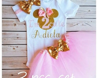 Pink and Gold Minnie Mouse 2nd birthday outfit,second birthday tutu,2nd birthday girl outfit,pink birthday tutu,pink tutu,girl birthday tutu