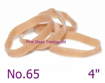 """300 x Thick 4"""" Rubber Elastic Bands 101.6mm x 6.3mm Heavy Duty No.65"""