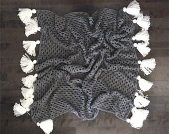 READY TO SHIP Tassel crocheted throw blanket . afgahn