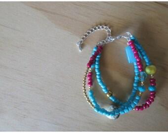 Blue and maroon bracelet- 16