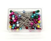100pcs,Head pins, Long Round Head Pins, Stick Pins, corsage pins, sewing supply, Fixed needle Pearl needle Beads needle, Sewing and Quilting
