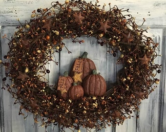 "18"" Fall Oval Primitive Country Grapevine Wreath"