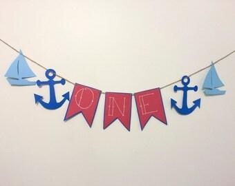 Sailor First Birthday Banner- Boy