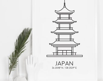 Japanese Print, Travel Print, World icons, Simple Wall Art, Office Decor, Top Sellers, Japan Wall Art, Digital Download, Minimalist Print