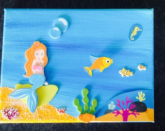 Table deco painting Mermaid bed child