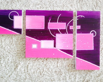 Pink and purple abstract triptych