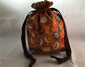 Project Bag for Knitting, Small Drawstring, Kids Purse, Travel, Toiletry, Make-Up, Yarn Storage, Fabric Gift Bag, Tote - Cats & Mice Toss