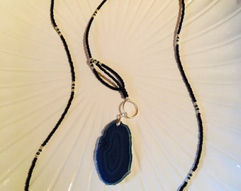 Extra-long Y Necklace with Blue Agate